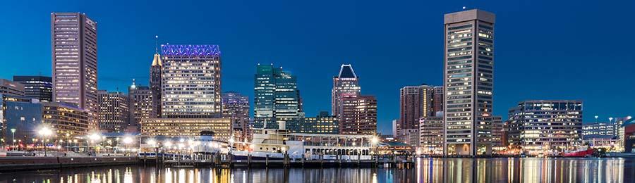 Baltimore night skyline reflection from Inner Harbor