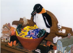 Puron the penguin with candy