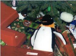 Puron the penguin with presents