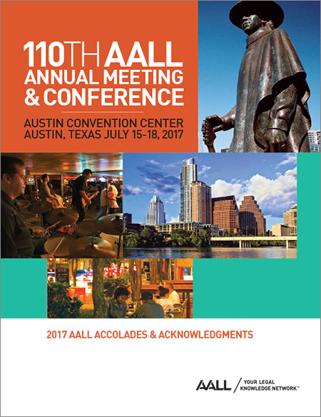 2017 AALL Accolades & Acknowledgments brochure cover