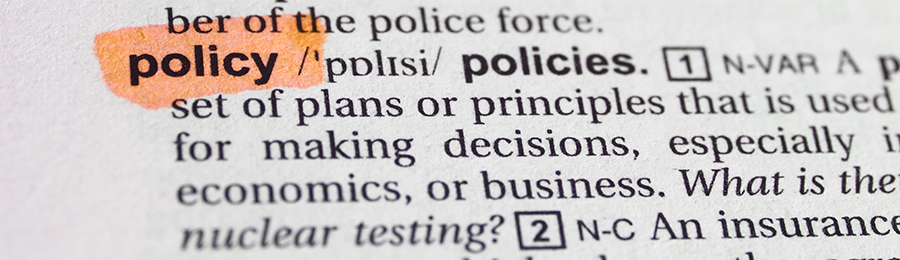The word policy highlighted in a dictionary