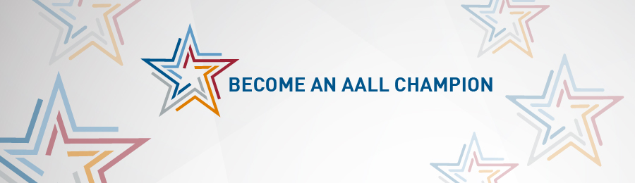 Become an AALL Champion banner with stars in AALL colors