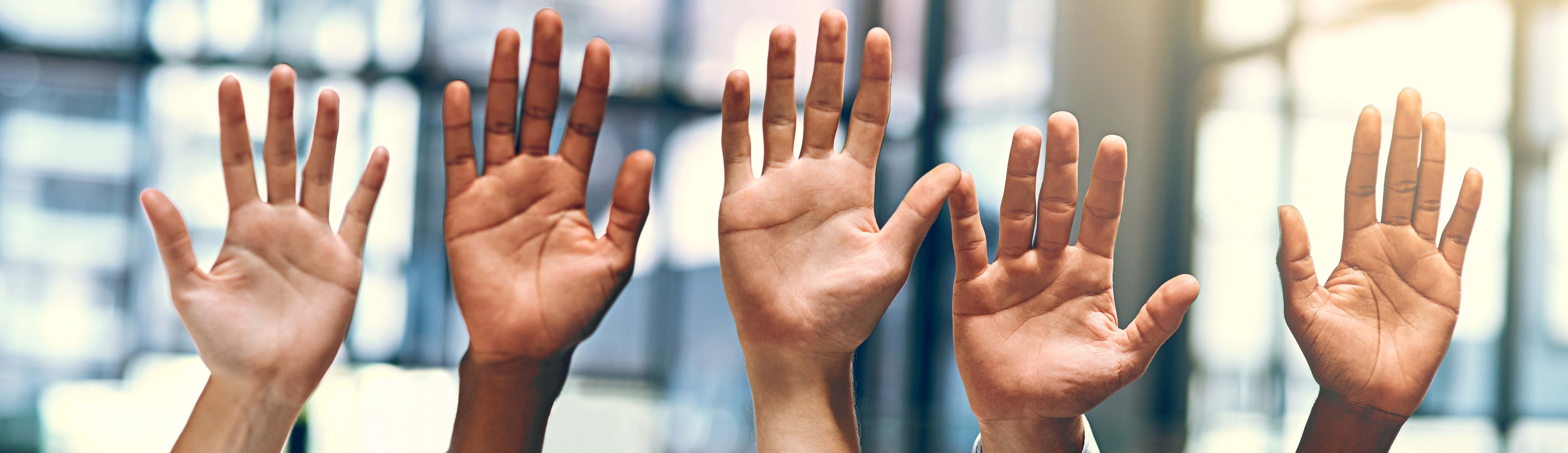 Five hands raised to ask questions