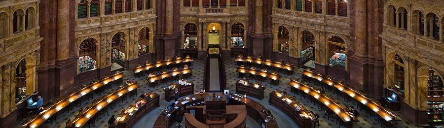 Main Reading Room in Library of Congress, Washington, D.C. USA
